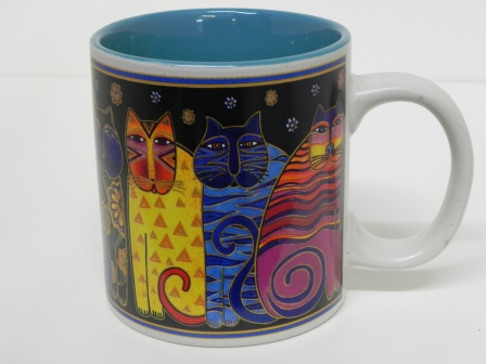 Laurel Burch Cat Mug - black